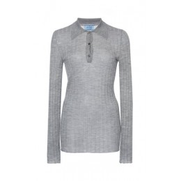 Prada Women's Tops Ribbed Knit Cashmere Silk Top Light grey Basic