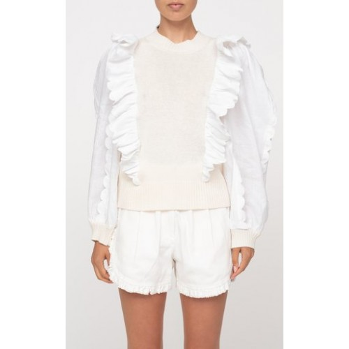 Sea Girl's Clothing Shannon Ruffled Poplin and Knit Sweater White Premium