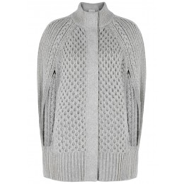 Alexander McQueen Outwear Light grey cable-knit wool-blend cape Plus Size Black Friday SC426125
