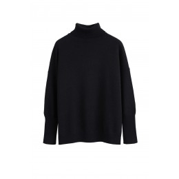 Chinti & Parker Girl's Tops Black cashmere rollneck sweater Oversized Brand SC359026