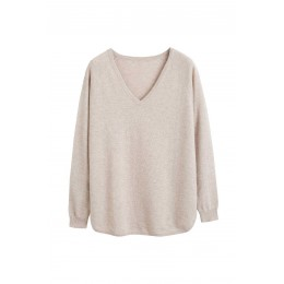 Chinti & Parker Women Oatmeal cashmere v-neck sweater New Look SC359023