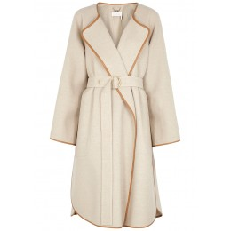 Chloé Oatmeal leather-trimmed wool-blend coat Holiday Classic Fit SC421620