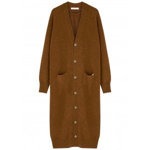 extreme cashmere Women N°125 Coco brown cashmere-blend cardigan Plus Size Classic Fit SC414828