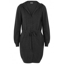 Johnstons of Elgin Outwear Charcoal hooded cashmere cardigan Plus Size SC375913