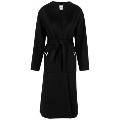 Valentino Women's Clothing Black wool and cashmere-blend coat Under $50 Online Sale SC422227