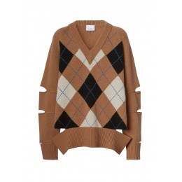 Burberry Women's Outwear Cut-out detail argyle intarsia wool cashmere sweater SC420509