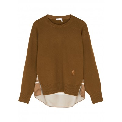 Chloé Women's Olive cashmere and printed silk jumper SC424098